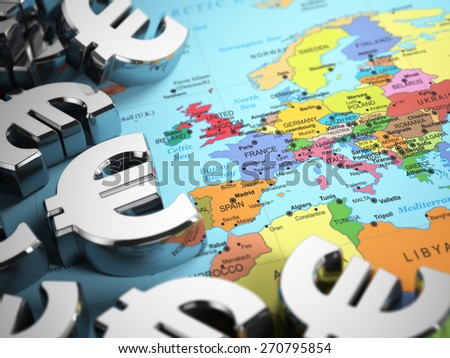 Euro sign on the world map background with DOF effect. 3d - stock photo