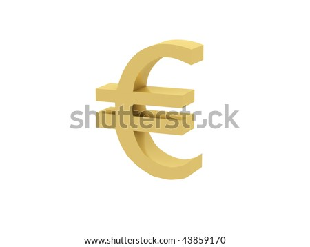 Euro sign on white background. High quality 3d render.