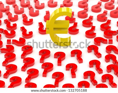 Euro sign surrounded by question marks. Concept 3D illustration. - stock photo