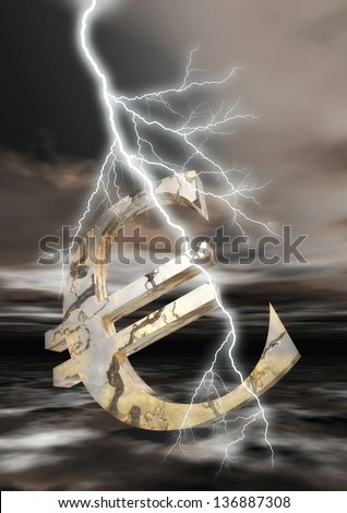 Euro Sign with Flash - stock photo