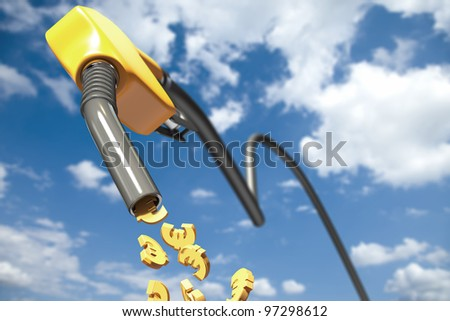 Euro signs dripping out of a yellow fuel nozzle - stock photo