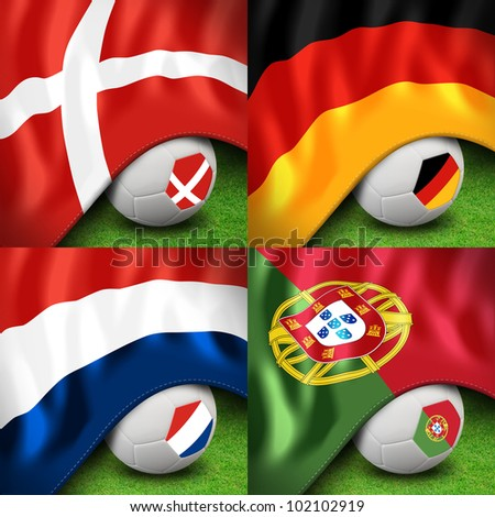 euro soccer ball 2012 group b and flag