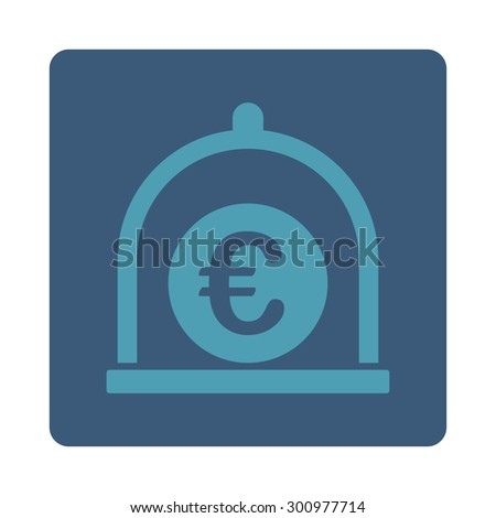 Euro standard icon. Glyph style is cyan and blue colors, flat rounded square button on a white background.