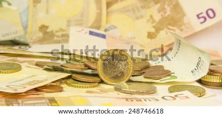 euro standing  money background - stock photo