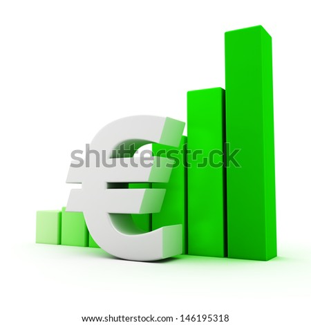 Euro symbol and bar graph on white - stock photo