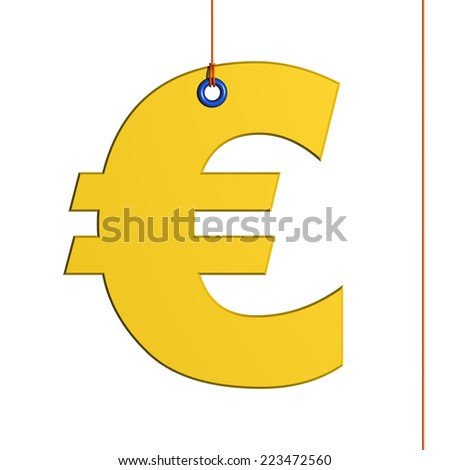 Euro symbol hung by a thread, isolated on white background
