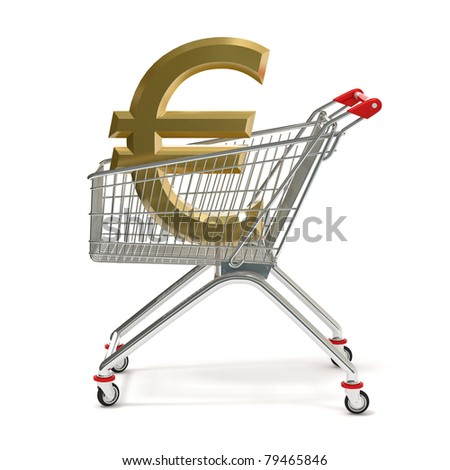 euro symbol in a  shopping cart,  isolated on white  background