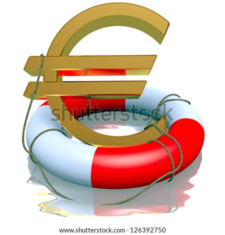 Euro symbol in life-buoy reflected on a white - stock photo