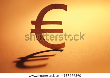 Euro symbol made form paper. Money concept.