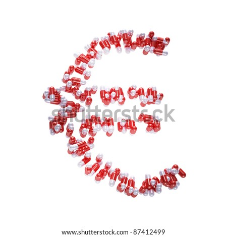 Euro symbol made of pills isolated on white