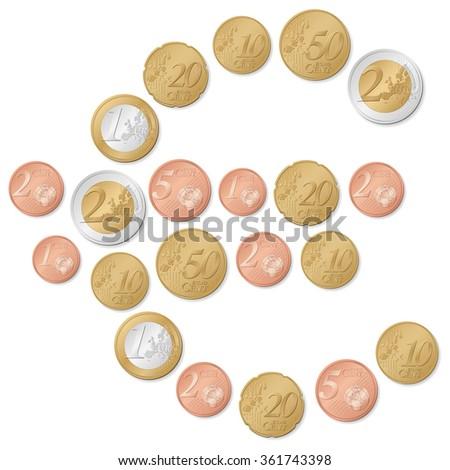 euro symbol of coins illustration. - stock photo