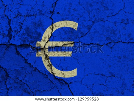 Euro symbol on a cracked grunge background - stock photo