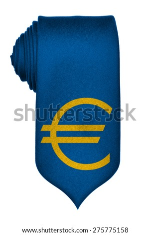 Euro symbol on blue rolled up tie isolated on white background - stock photo