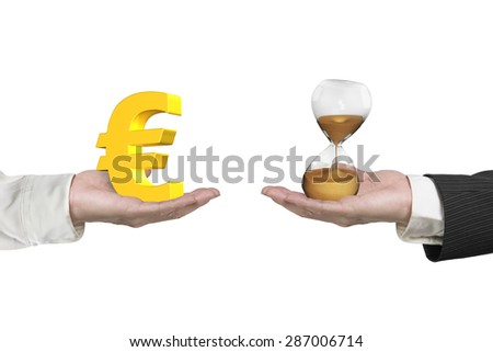 Euro symbol on one hand and hour glass on another hand, isolated on white, concept of deal and time. - stock photo
