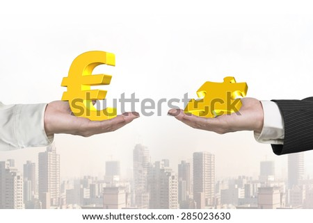 Euro symbol on one hand and puzzle piece on another hand, with cityscape background, concept of deal. - stock photo