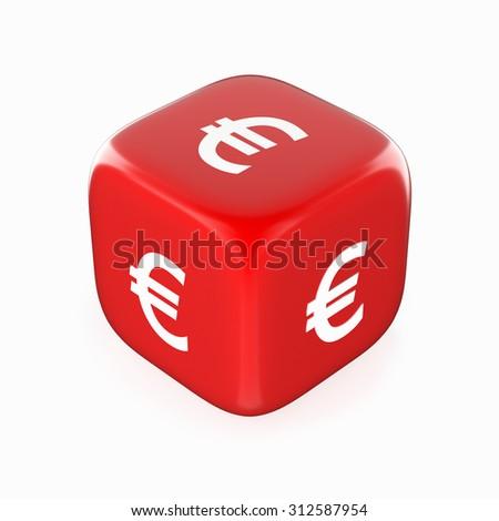 Euro Symbol on Red Dice - stock photo