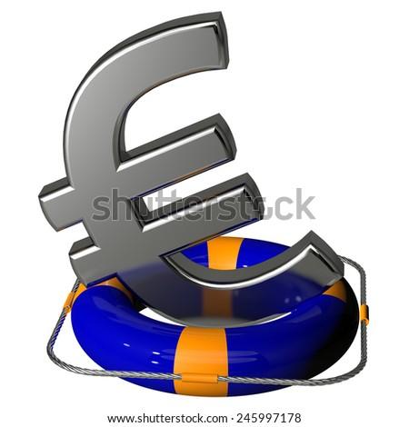 Euro symbol silver on the lifebuoy pontoon blue - stock photo