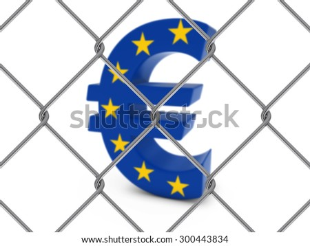 Euro Symbol textured with the EU Flag behind Chain Link Fence with depth of field - Isolated on white - stock photo