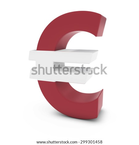 Euro Symbol textured with the Latvian Flag Isolated on White Background