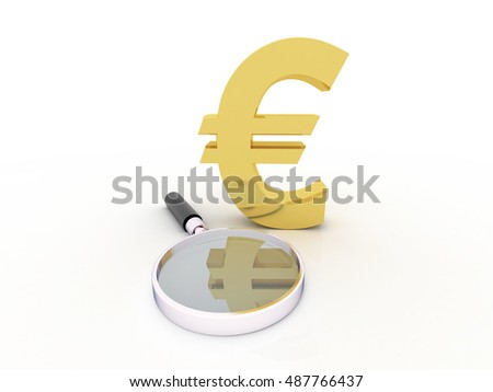 Euro Symbol Under Magnifying Glass - 3D Illustration