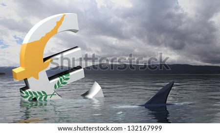 Euro symbol with Cyprus flag sinking in the water