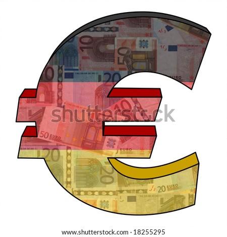 Euro Symbol German Flag Currency Illustration Stock Illustration