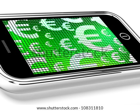 Euro Symbols On Mobile Screen Showing Money And Wealth - stock photo