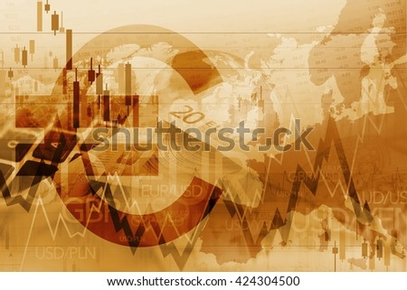 Euro Trader Trading Index. European Union Currency Forex Trading Stats Conceptual Graphic. - stock photo