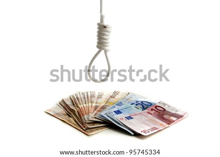 Euro under pressure in the financial world on a white background - stock photo