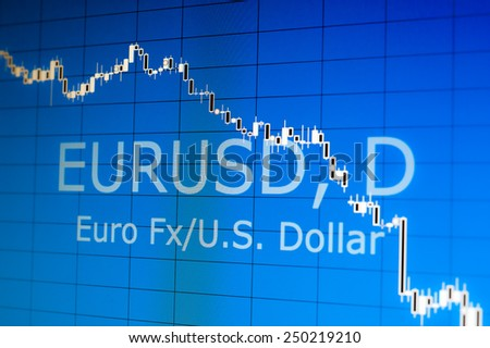 Euro USD index stock charts - stock photo