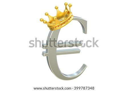 euro with crown, 3D rendering isolated on white background