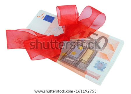 Euro with gift bow isolated on white