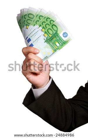 Eurobill money in hand isolated on white - stock photo