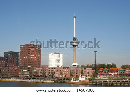 Euromast in Rotterdam, with Erasmus University in the background - stock photo
