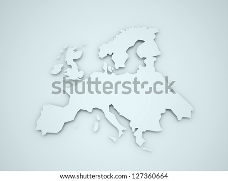 Europa continent with shadows on blue background - stock photo