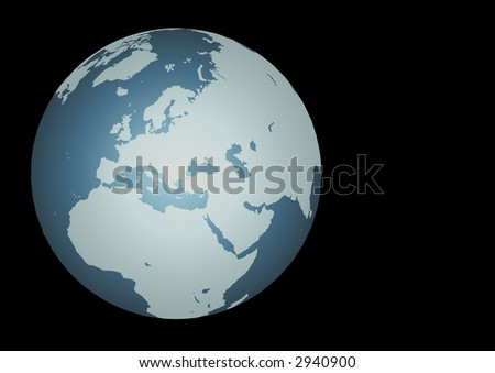 Europe. Accurate map of Europe. Mapped onto a globe. Includes small islands. - stock photo
