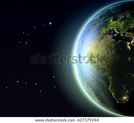 Europe and Africa from Earth's orbit. 3D illustration with detailed planet surface, atmosphere and city lights. Elements of this image furnished by NASA.