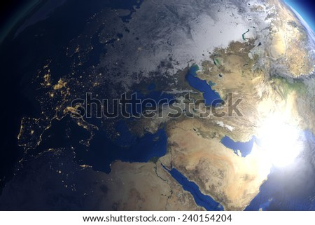 Europe and Asia as well as the Noth of Africa: computer generated image of planet earth in space. Elements of this image furnished by NASA. - stock photo