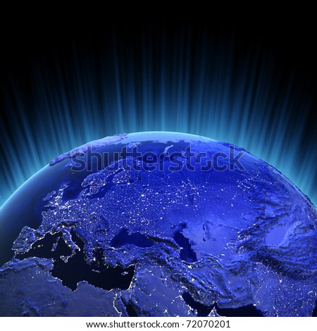 Europe and Asia volume 3d render. Maps from NASA imagery - stock photo