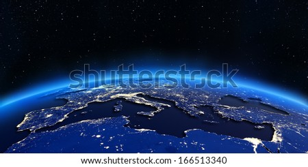 Europe and North Africa city lights map. Elements of this image furnished by NASA - stock photo
