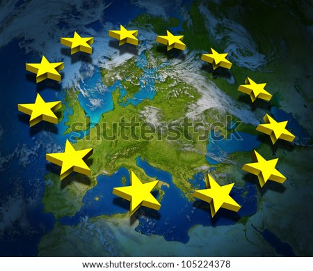 Europe and the European Union flag symbol with three dimensional gold stars floating on a map.