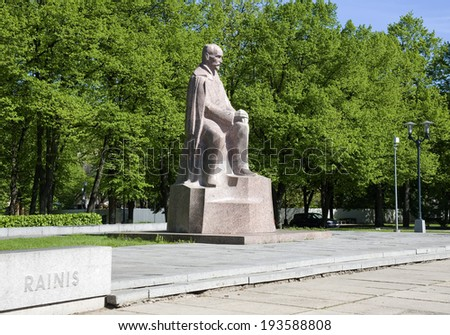 Europe; Baltic; Latvia; Riga. Monument to the Latvian writer and poet Rainis. Riga the cultural capital of Europe in 2014.  - stock photo