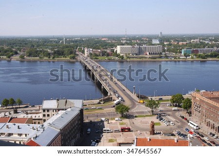 Europe, Baltic, Latvia, Riga. The top view on Ratushnuyu Square, Dvina and stone bridge.