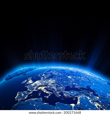 Europe city lights at night. Elements of this image furnished by NASA - stock photo