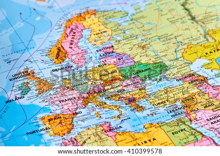 Europe Continent on the World Map - stock photo