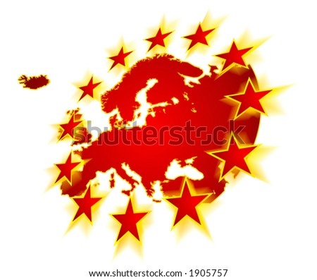 Europe continent with EU stars, symbolic illustration of European Union (motion blurred stars are overlapping land contour and suggest expanding of EU) - stock photo