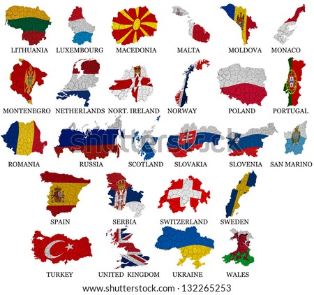 Europe countries From L to W  flag maps on a white background