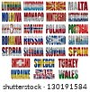 Europe countries (From L to W) flag words on a white background - stock photo