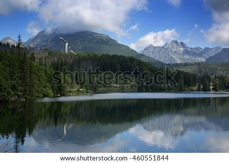 Europe, country Slovakia. Mountain lake Strbske pleso, national park High Tatras.