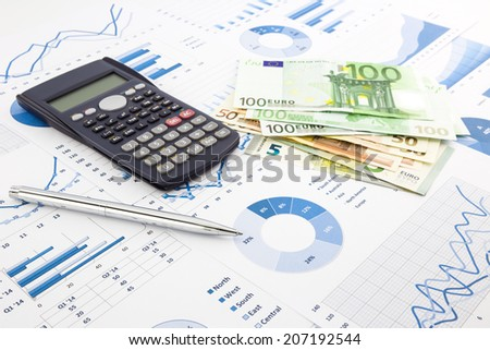 europe currency on financial charts, expense cash flow summarizing and graphs background, concepts for saving money, budget management, stock exchange, investment and business income report - stock photo